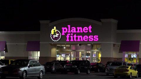 Planet Fitness exercise workout membership club front entrance, Revere Massachusetts USA, September 10, 2014