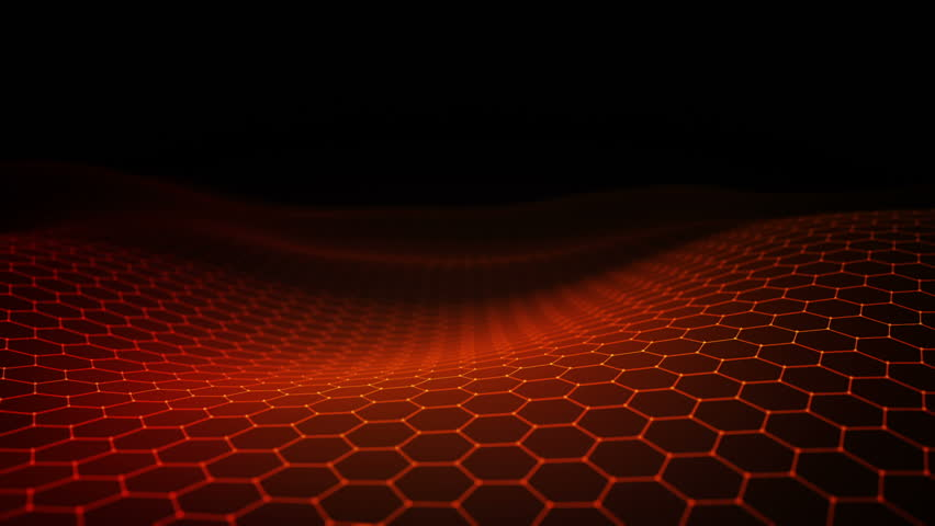Abstract background with animation of waving surface from blinking hexagons. Technologic electricity backdrop. Seamless loop. | Shutterstock HD Video #1024276301