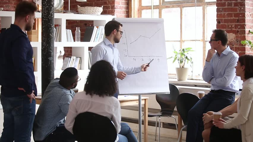 Confident speaker coach gives corporate presentation on whiteboard teaching diverse sales team at group meeting, male business trainer presenter speaking at training explaining report graph in office | Shutterstock HD Video #1024307081