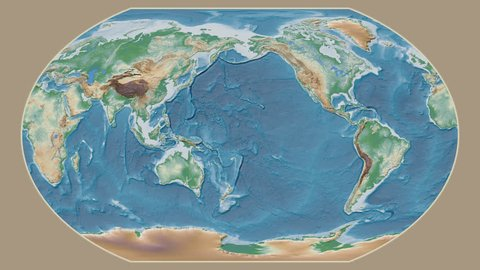 Guinea Bissau area presented against the global physical map in the Kavrayskiy VII projection with animated oblique transformation