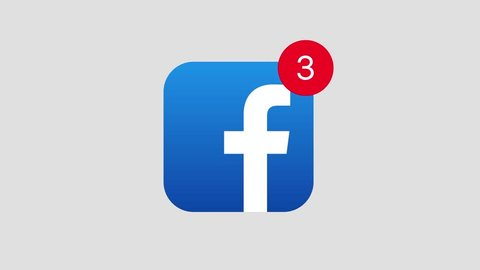 HILTON SOUTH AFRICA  JANUARY 25 2019: A motion graphic video animation illustrating the Facebook social media website logo app icon popup notification messages counting up