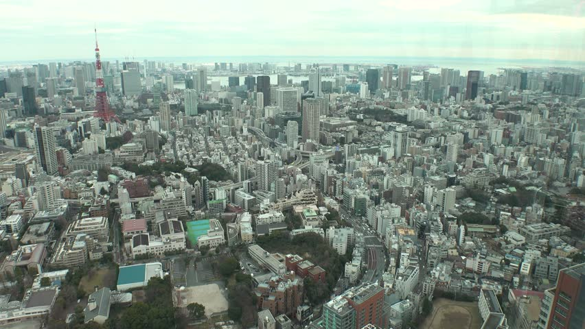 TOKYO,  JAPAN - CIRCA FEBRUARY 2019 : Aerial view of CITYSCAPE of central area in TOKYO.  View from Roppongi area. | Shutterstock HD Video #1024343711