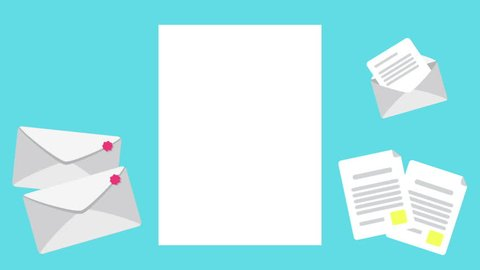 Folding & Flip Paper sheet.  Blank paper sheet moving motion with cute document vector and empty space for your message. Paper Loop with 10sec. for your presentation.