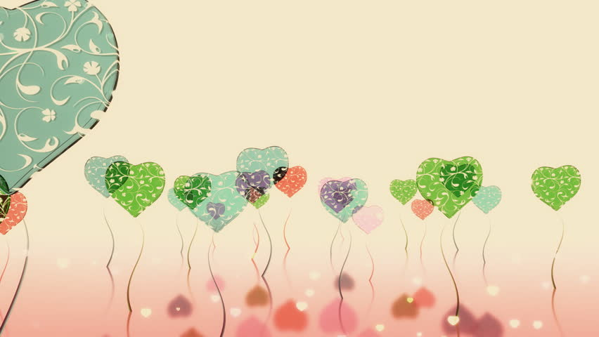 High quality 3D Rendered colorful heart balloons which has the emotion of waving and shows