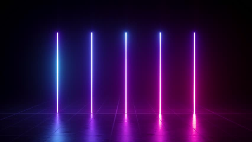 Vertical glowing lines, ultraviolet spectrum, blue violet neon lights, laser show, night club, equalizer, abstract fluorescent background, optical illusion, virtual reality | Shutterstock HD Video #1024370081
