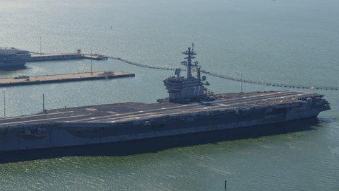 Norfolk Virginia Aerial Birdseye, panning around Naval pier 10/17