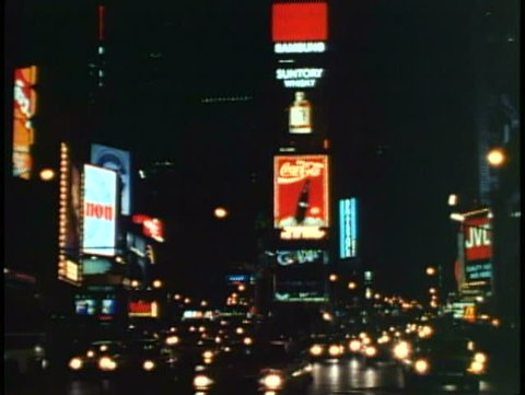NEW YORK CITY, 1994, Times Square at night, classic view up Broadway, taxis