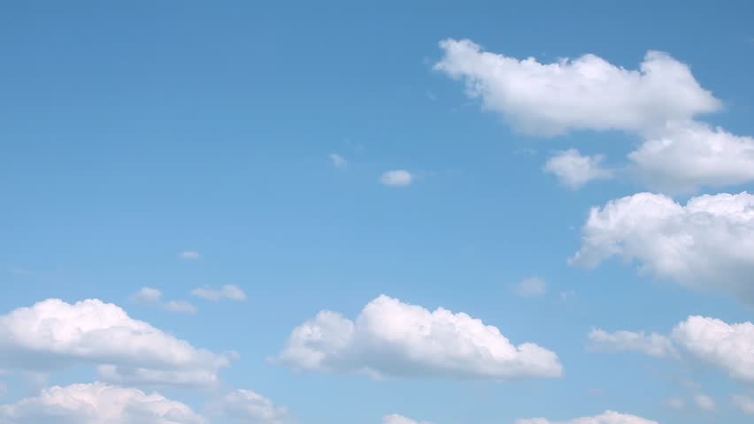 Very nice summer sunny clouds, clear lightness colourful fast moving away, beautiful white building, forming cloudscape in horizon. Real footage, not CG.  -UHD. #1024504031