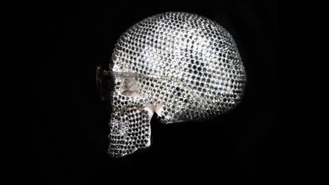 amazing diamond covered skull with sunglasses rotating. this is a unique handmade object from our studio