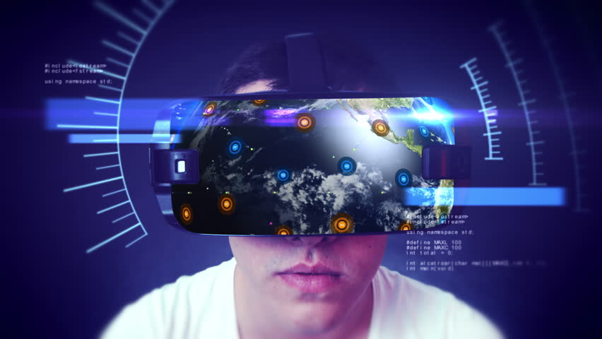 Close-up shot of a young man wearing VR Headset experiencing 3D virtual reality. Technology related digital earth network concept. Loop. | Shutterstock HD Video #1024578671
