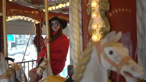 4K Young Pretty Woman Ride On The Carousel
