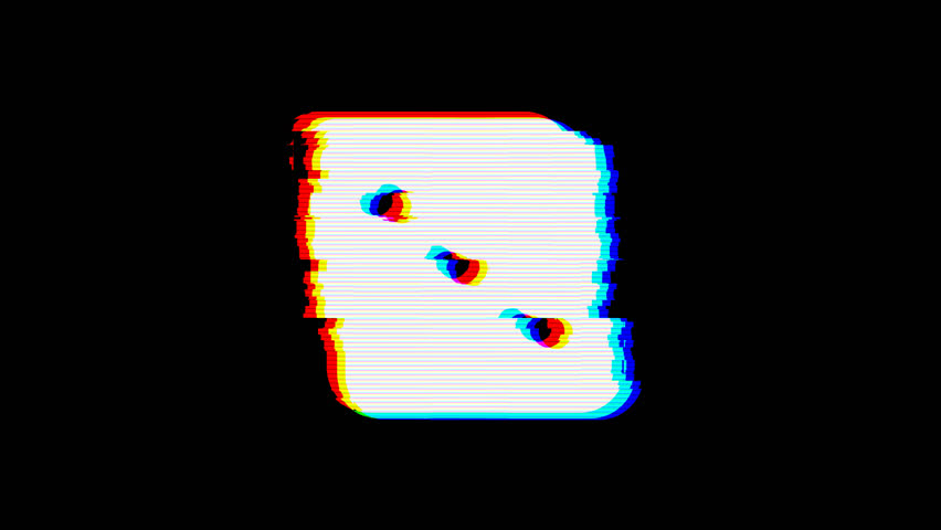 From the Glitch effect arises dice three symbol. Then the TV turns off. Alpha channel Premultiplied - Matted with color black   Shutterstock HD Video #1024676591