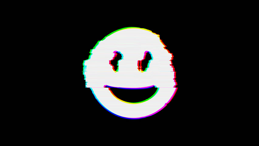 From the Glitch effect arises grin symbol. Then the TV turns off. Alpha channel Premultiplied - Matted with color black | Shutterstock HD Video #1024798601