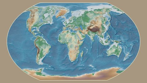 Uzbekistan area presented against the global physical map in the Kavrayskiy VII projection with animated oblique transformation