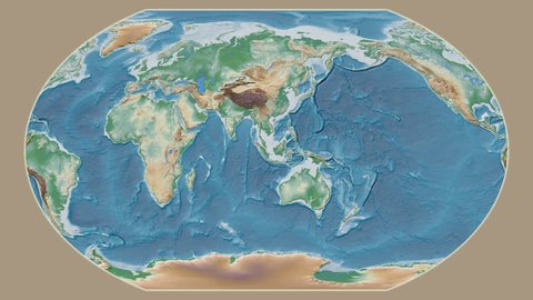 United States Mainland area presented against the global physical map in the Kavrayskiy VII projection with animated oblique transformation