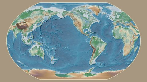 Turkey area presented against the global physical map in the Kavrayskiy VII projection with animated oblique transformation