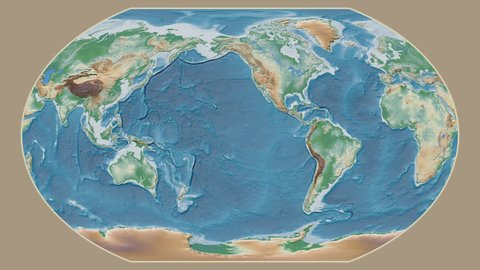 South Africa area presented against the global physical map in the Kavrayskiy VII projection with animated oblique transformation