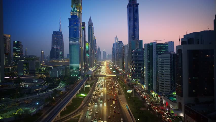 Incredible city Dubai downtown modern building architecture in pink evening sunset night illumination 4k aerial flyover | Shutterstock HD Video #1024898051