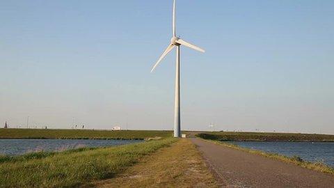 Modern windmill on a peer near Enkhuizen