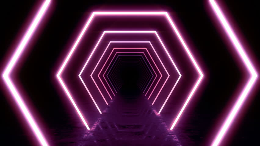 Abstract background with animation of flight in abstract futuristic tunnel with neon light. Animation of seamless loop.  | Shutterstock HD Video #1025051081