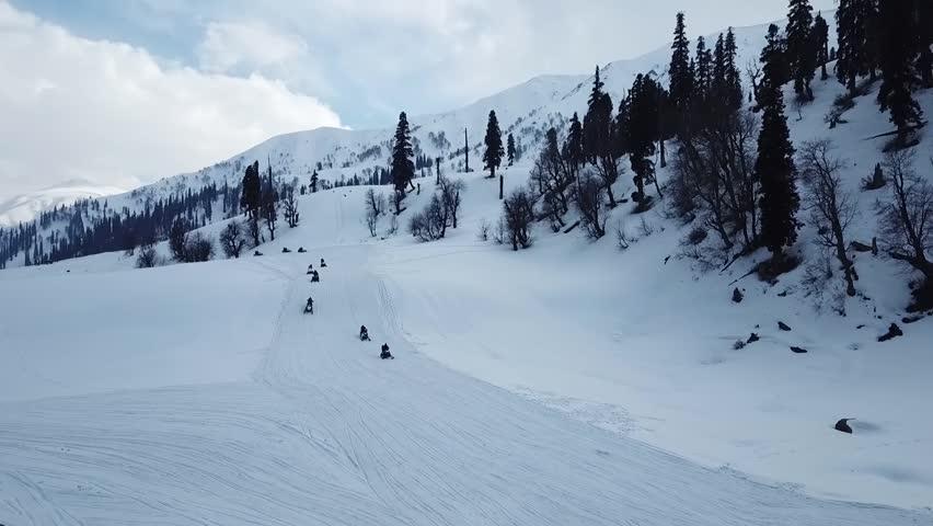 Skiing in Kashmir, India (Aerial)   Shutterstock HD Video #1025071691