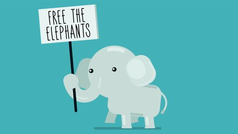 Walk cycle of a baby elephant protesting with a sign, 2D animation made in 4K, loopable clip with alpha channel