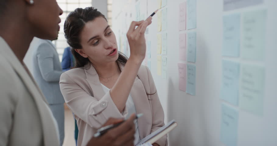 Corporate business people meeting using sticky notes brainstorming caucasian team leader woman sharing problem solving strategy on whiteboard working on solution for project deadline | Shutterstock HD Video #1025206121