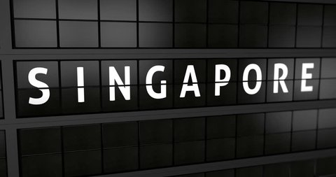 3D generated animation 4K, Analogue airport billboard with flight information, arrival city of Singapore