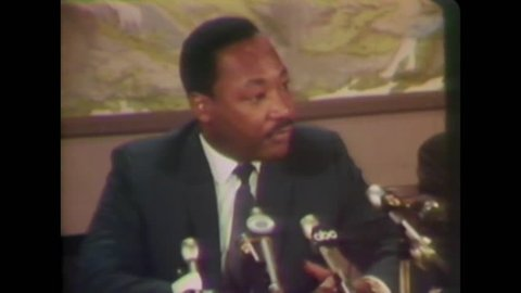 CIRCA 1968 - In an interview with the press, Martin Luther King explains why and how he left a march in Memphis after it got violent. -
