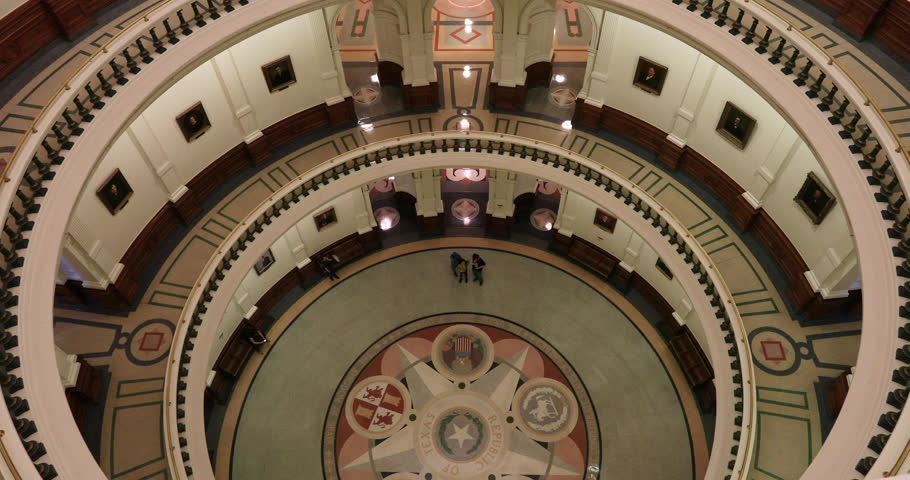 AUSTIN, TEXAS - 27 JAN 2019: Austin Texas State Capital building dome balcony to floor. Government of the American state of Texas. Downtown offices and chambers of legislator and Governor. Rotunda.