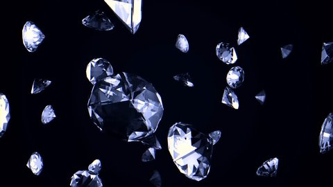 Abstract background with slowly falling upwards crystals or diamonds. The brilliants fall, rotate on a black background and shine of all edges.