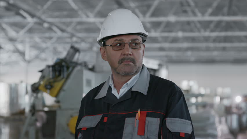 Engineer Plan of Metallic Manufacture. Caucasian People in Hard Hat or Safety Clothes. Inspection Process of Machine Tool by Elder Technical Contractor or Looking Technician of Repair Service Close-up | Shutterstock HD Video #1025420321
