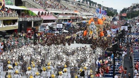 RIO DE JANEIRO, BRAZIl - MARCH 05, 2019: Participants in the Carnival from Samba school Unidos da Tijuca present their costumes during the Carnival in Rio de Janeiro (Brazil)