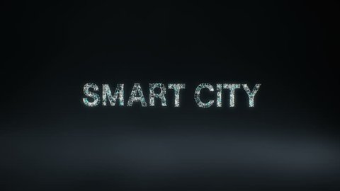 Numerous dots gather to create a 'SMART CITY' typo, low-polygon web. 4k animation.