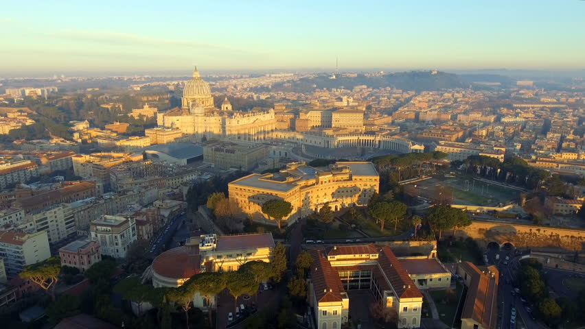 Aerial view of Rome skyline cityscape with Vatican City landmark at sunrise in Italy | Shutterstock HD Video #1025466911
