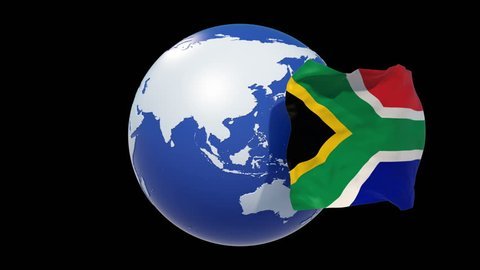 South Africa flag.South Africa independence day. 3d animation South  Africa flag day. luma matte,alpha matte. 4k loop.