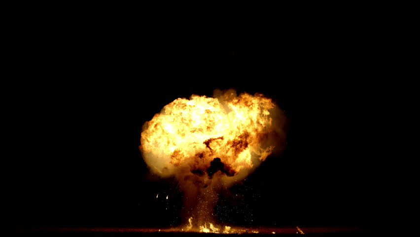 Giant gas explosion professionally filmed real VFX on black overlay for compositing. 4K RED
