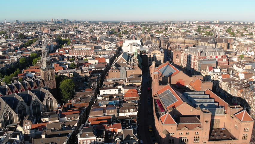 Aerial view to the St Nicholas´s Basilica and the city, Amsterdam, Netherlands | Shutterstock HD Video #1025505221