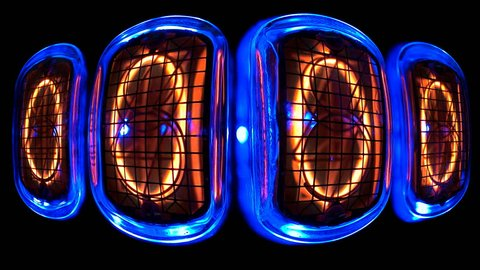 counting time counters, numerical counter from 9 to 0, in a curved space Gas discharge indicator Nixie tube