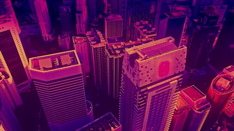 Aerial view of skyscrapers at the Kuala Lumpur city in the 80s style video, neon colors. Wide shot 4k shot