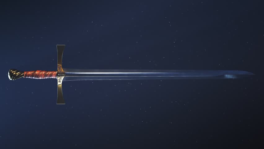 A medieval sword against dark blue background with particles. Horizontal presentation of a cold steel blade with a leather handle and brass decorations. Weapon, blade, knight, battle equipment