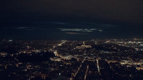 Athens and the Acropolis Hill at night, 4K aerial footage