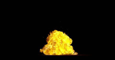 Giant real gas ground explosion professionally filmed VFX on black overlay for compositing. 4K RED