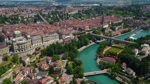 Aerial Switzerland Bern June 2018 Sunny Day 30mm 4K Inspire 2 Prores  Aerial video of downtown Bern in Switzerland on a beautiful sunny day.