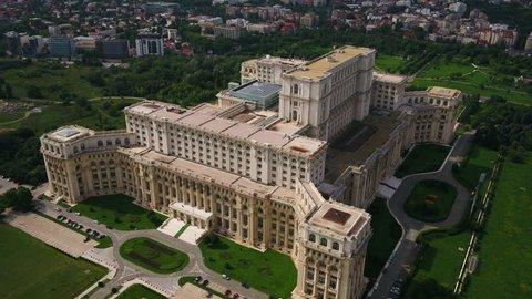 Aerial Romania Bucharest June 2018 Sunny Day 30mm 4K. Aerial video of downtown Bucharest in Romania on a beautiful sunny day.