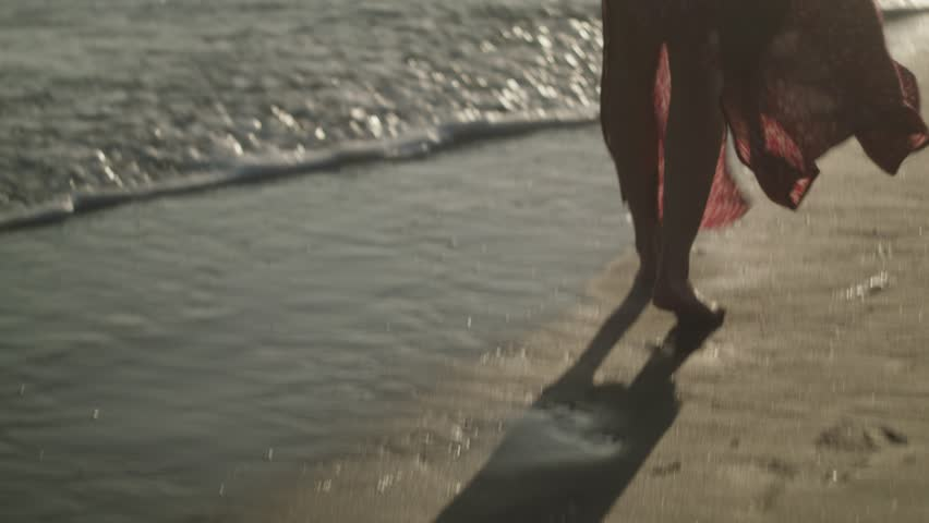 A girl walking along Santa Monica beach.