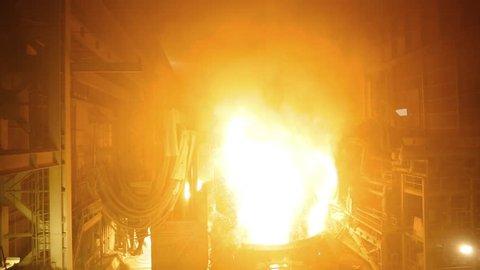 Metal smelting furnace in steel mills/Canakkale-TURKEY