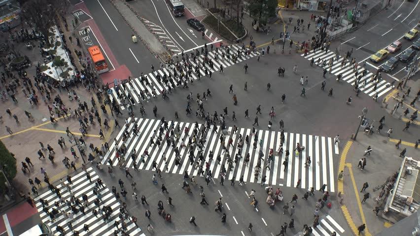 SHIBUYA,  TOKYO,  JAPAN - CIRCA MARCH 2019 : Aerial view around SHIBUYA scramble crossing.  Busy crowded area in Tokyo. | Shutterstock HD Video #1025711411
