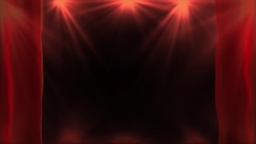 Red spotlights lighting flare animation on a dark background and opening curtains, abstract