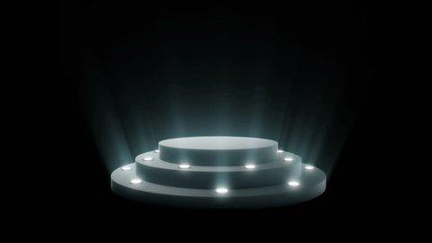 Empty round podium, pedestal or platform illuminated by volume spotlights. Set of bright searchlights on black background. Digital 3d animation.